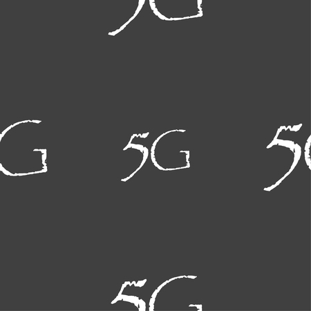 telecommunications technology: 5G sign icon. Mobile telecommunications technology symbol. Seamless pattern on a gray background. illustration