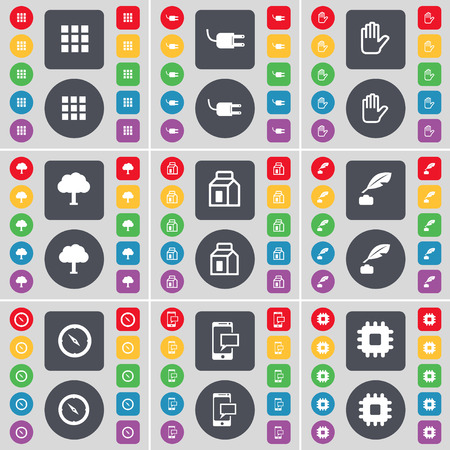 ink pot: Apps, Socket, Hand, Tree, Packing, Ink pot, Compass, SMS, Processor icon symbol. A large set of flat, colored buttons for your design. illustration