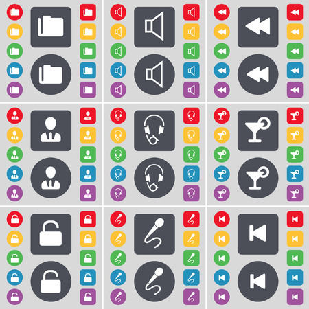 skip: Folder, Sound, Rewind, Avatar, Headphones, Cocktail, Lock, Microphone, Media skip icon symbol. A large set of flat, colored buttons for your design. illustration