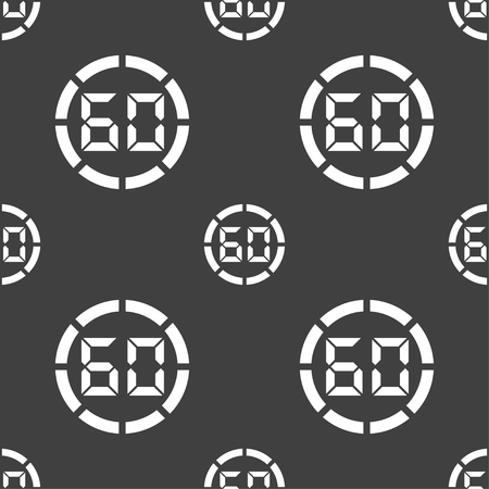 corner clock: 60 second stopwatch icon sign. Seamless pattern on a gray background. illustration