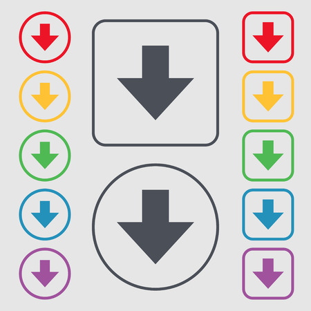 downloading: Download sign. Downloading flat icon. Load label. Symbols on the Round and square buttons with frame. illustration