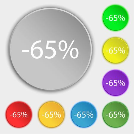 65: 65 percent discount sign icon. Sale symbol. Special offer label. Symbols on eight flat buttons. illustration