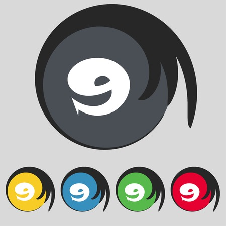 numero nueve: number Nine icon sign. Set of coloured buttons. illustration