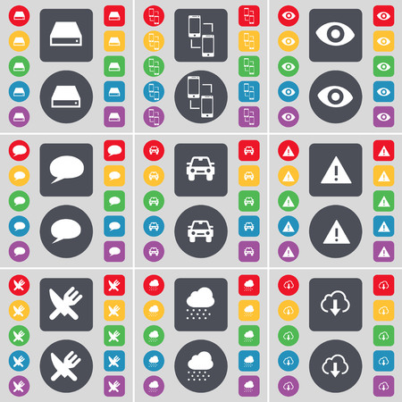 bubble car: Hard drive, Connection, Vision, Chat bubble, Car, Warning, Fork and knife, Cloud icon symbol. A large set of flat, colored buttons for your design. illustration