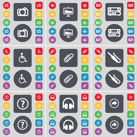 disabled person: Camera, Graph, Record-player, Disabled person, Clip, Microphone connector, Question mark, Headphones, Back icon symbol. A large set of flat, colored buttons for your design. illustration Stock Photo