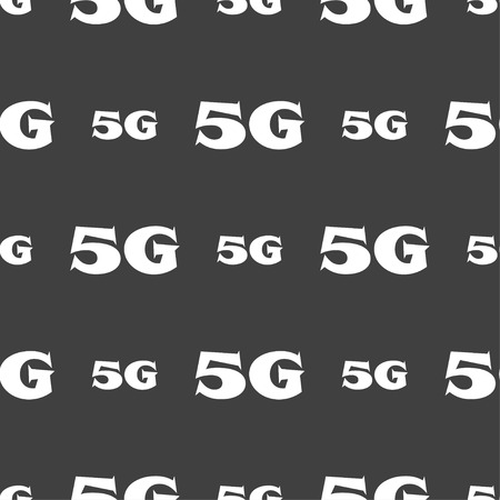 telecommunications: 5G sign icon. Mobile telecommunications technology symbol. Seamless pattern on a gray background. illustration