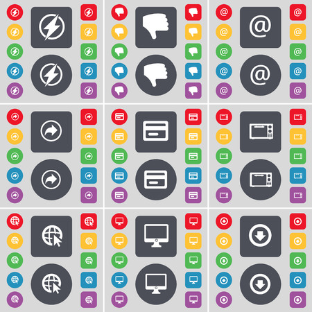 arrow down icon: Flash, Dislike, Mail, Back, Credit card, Microwave, Web cursor, Monitor, Arrow down icon symbol. A large set of flat, colored buttons for your design. illustration Stock Photo