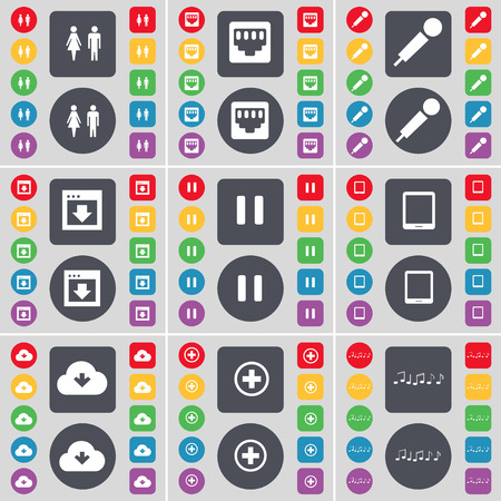lan: Silhouette, LAN socket, Microphone, Window, Pause, Tablet PC, Cloud, Plus, Notes icon symbol. A large set of flat, colored buttons for your design. illustration