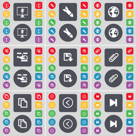 skip: Monitor, Rocket, Earth, Helicopter, Clip, Copy, Arrow left, Media skip icon symbol. A large set of flat, colored buttons for your design. illustration