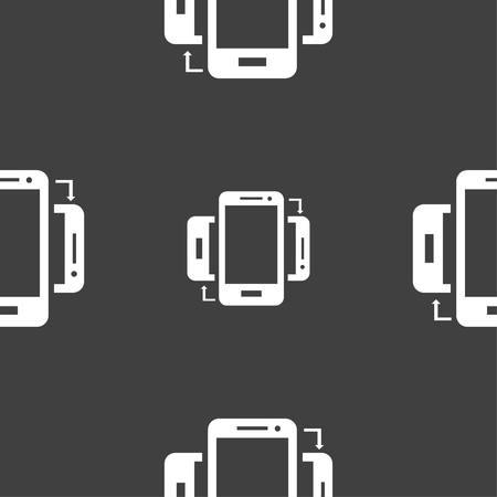 data exchange: Synchronization sign icon. smartphones sync symbol. Data exchange. Seamless pattern on a gray background. illustration Stock Photo