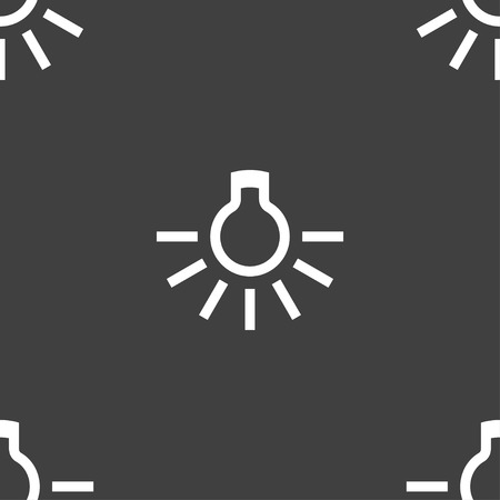fluorescent lights: light bulb icon sign. Seamless pattern on a gray background. illustration Stock Photo