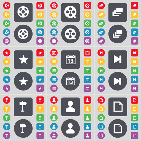 videotape: Videotape, Gallery, Star, Calendar, Media skip, Signpost, Avatar, File icon symbol. A large set of flat, colored buttons for your design. illustration