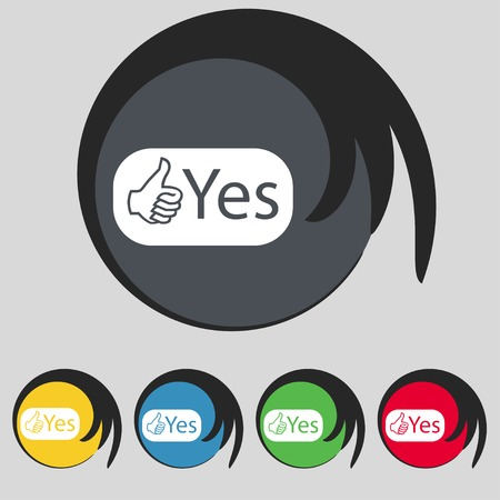 verify: Yes sign icon. Positive check symbol. Set of colored buttons. illustration Stock Photo
