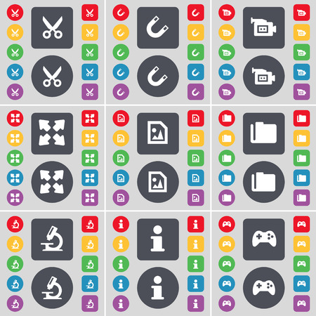 full screen: Scissors, Magnet, Film camera, Full screen, Media file, Folder, Microphone, Information, Gamepad icon symbol. A large set of flat, colored buttons for your design. illustration