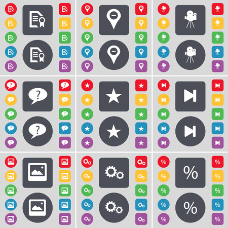 chat window: Text file, Checkpoint, Film camera, Chat bubble, Star, Media skip, Window, Gear, Percent icon symbol. A large set of flat, colored buttons for your design. illustration Stock Photo
