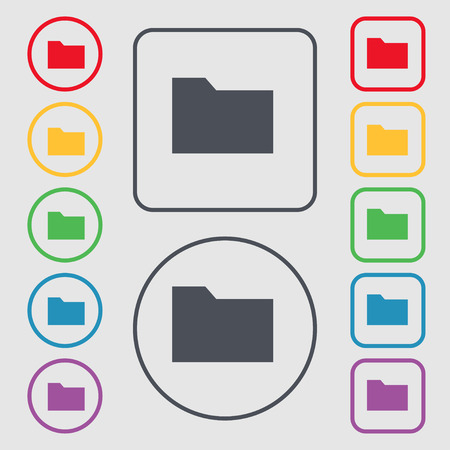 map case: Document folder icon sign. symbol on the Round and square buttons with frame. illustration Stock Photo