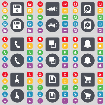 floppy drive: Floppy, Trumped, Hard drive, Receiver, Copy, Notification, Thermometer, File, Shopping cart icon symbol. A large set of flat, colored buttons for your design. illustration