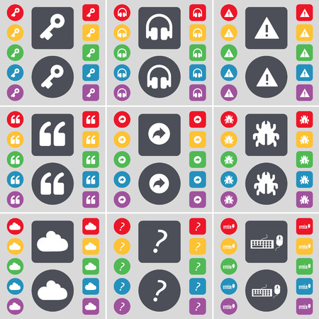 warning back: Key, Headphones, Warning, Quotation mark, Back, Bug, Cloud, Question mark, Keyboard icon symbol. A large set of flat, colored buttons for your design. illustration