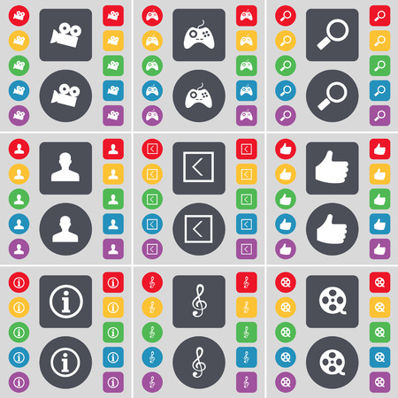 videotape: Film camera, Gamepad, Magnifying glass, Avatar, Arrow left, Like, Information, Clef, Videotape icon symbol. A large set of flat, colored buttons for your design. illustration