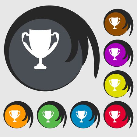 awarding: Winner cup sign icon. Awarding of winners symbol. Trophy. Symbols on eight colored buttons. illustration