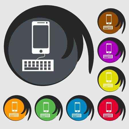 qwerty: Computer keyboard and smatphone Icon. Symbols on eight colored buttons. illustration Stock Photo