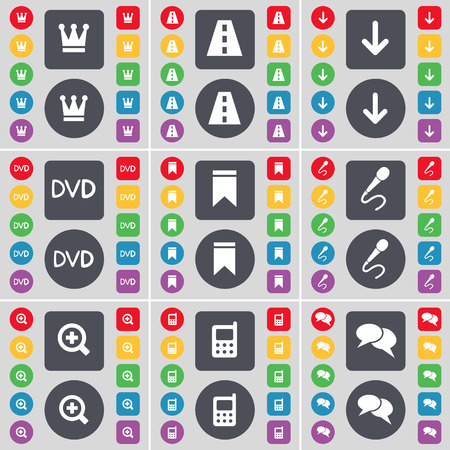 arrow down: Crown, Road, Arrow down, DVD, Marker, Microphone, Magnifying glass, Calculator, Chat icon symbol. A large set of flat, colored buttons for your design. illustration Stock Photo