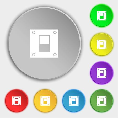 power switch: Power switch icon sign. Symbols on eight flat buttons. illustration