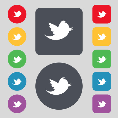 Social media, messages twitter retweet icon sign. A set of 12 colored buttons. Flat design. illustration