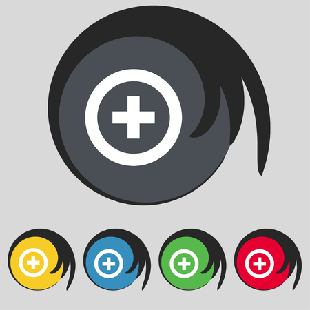 tokens: Plus, Positive icon sign. Symbol on five colored buttons. illustration
