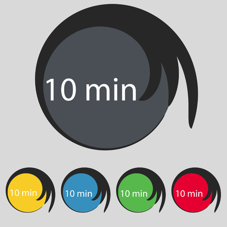 minutes: 10 minutes sign icon. Set of colored buttons. illustration Stock Photo