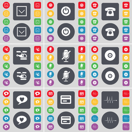 arrow down: Arrow down, Power, Retro phone, Helicopter, Microphone, Disk, Chat bubble, Credit card, Pulse icon symbol. A large set of flat, colored buttons for your design. illustration Stock Photo