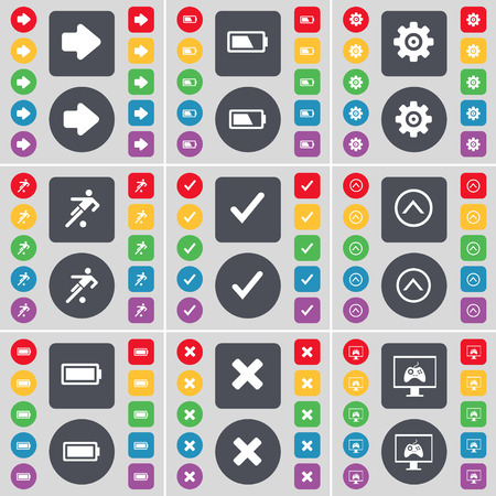 arrow right: Arrow right, Battery, Gear, Silhouette, Tick, Arrow right, Battery, Stop, Monitor icon symbol. A large set of flat, colored buttons for your design. illustration
