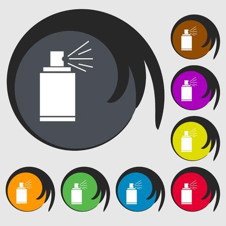 aerosol: Graffiti spray can sign icon. Aerosol paint symbol. Symbols on eight colored buttons. illustration