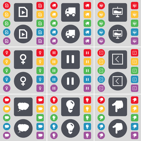 venus symbol: Media file, Truck, Graph, Venus symbol, Pause, Arrow left, Chat cloud, Light bulb, Hand icon symbol. A large set of flat, colored buttons for your design. illustration