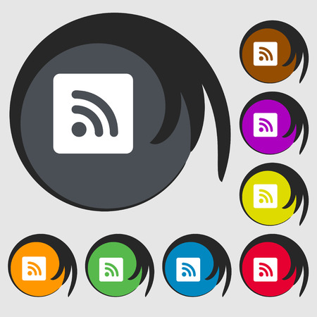 rss feed icon: RSS feed icon sign. Symbol on eight colored buttons. illustration