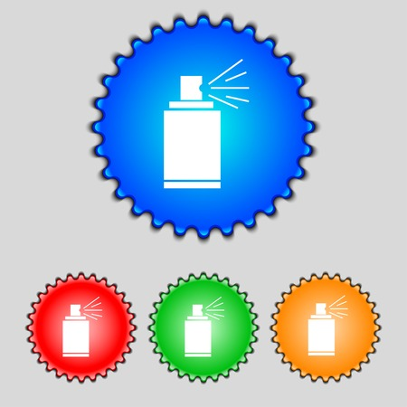 aerosol can: Graffiti spray can sign icon. Aerosol paint symbol. Set of colored buttons. illustration Stock Photo