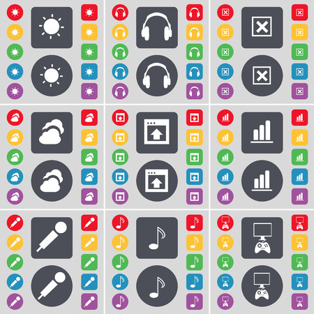 game console: Light, Headphones, Stop, Cloud, Window, Diagram, Microphone, Note, Game console icon symbol. A large set of flat, colored buttons for your design. illustration Stock Photo