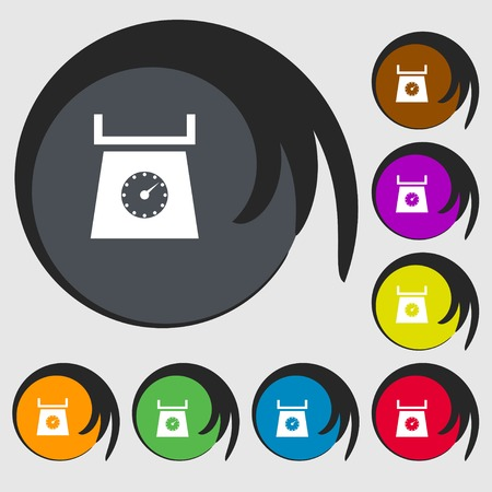 grams: kitchen scales icon sign. Symbols on eight colored buttons. illustration Stock Photo
