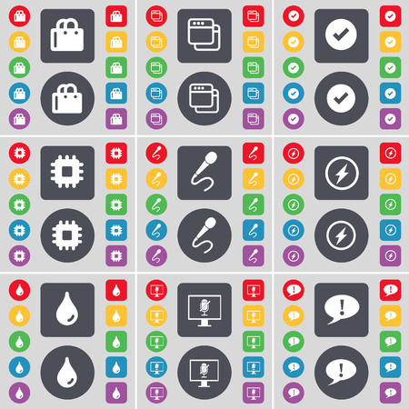 chat bubble icon: Shopping cart, Window, Tick, Processor, Microphone, Flash, Drop, Monitor, Chat bubble icon symbol. A large set of flat, colored buttons for your design. illustration