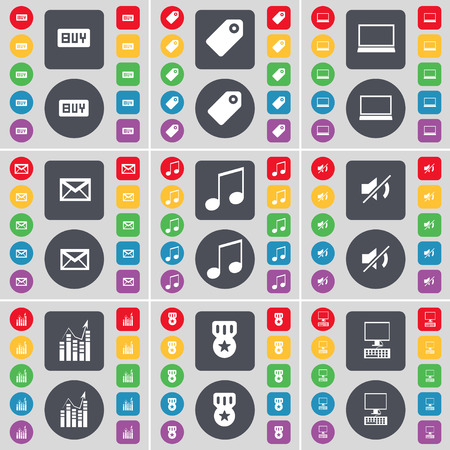 note pc: Buy, Tag, Laptop, Message, Note, Mute, Graph, Medal, PC icon symbol. A large set of flat, colored buttons for your design. illustration