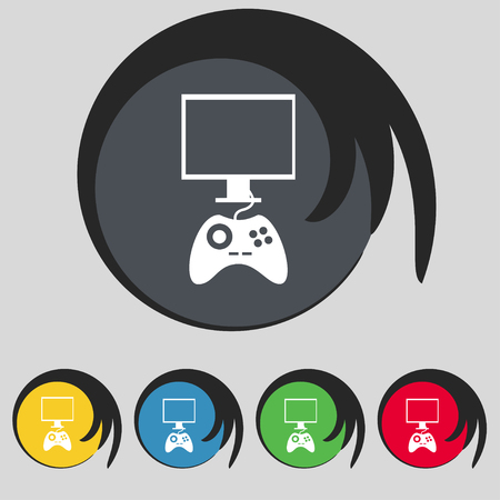 quality controller: Joystick and monitor sign icon. Video game symbol. Set colourful buttons. illustration Stock Photo