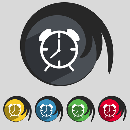 wake up call: Alarm clock sign icon. Wake up alarm symbol. Set of colourful buttons. illustration