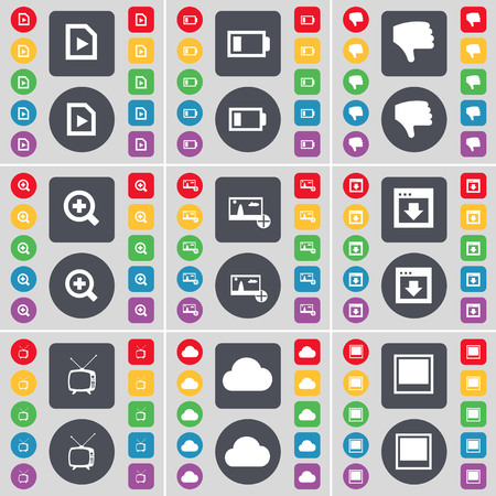 retro tv: Media file, Battery, Dislike, Magnifying glass, Picture, Window, Retro TV, Cloud icon symbol. A large set of flat, colored buttons for your design. illustration