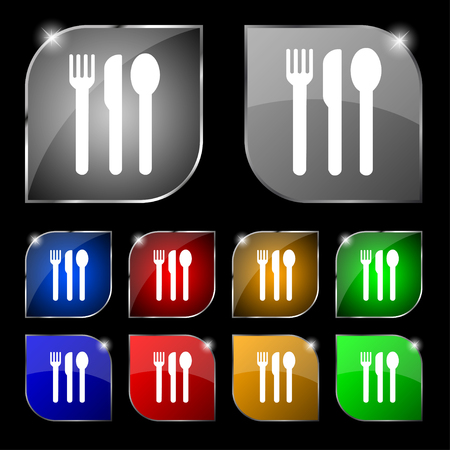fork knife spoon: fork, knife, spoon icon sign. Set of ten colorful buttons with glare. illustration
