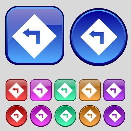 danger ahead: Road sign warning of dangerous left curve icon sign. A set of twelve vintage buttons for your design. illustration