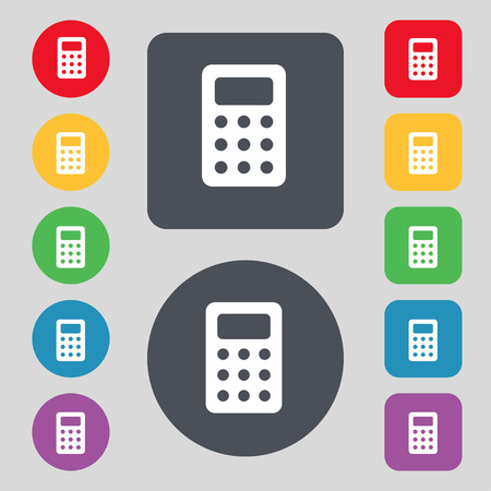 calc: Calculator, Bookkeeping icon sign. A set of 12 colored buttons. Flat design. illustration Stock Photo