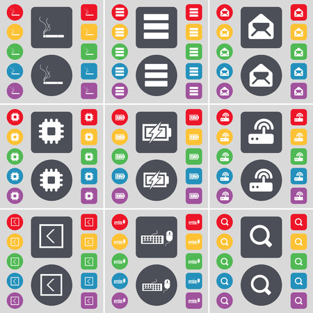 magnifying glass icon: Cigarette, Apps, Message, Processor, Charging, Router, Arrow left, Keyboard, Magnifying glass icon symbol. A large set of flat, colored buttons for your design. illustration