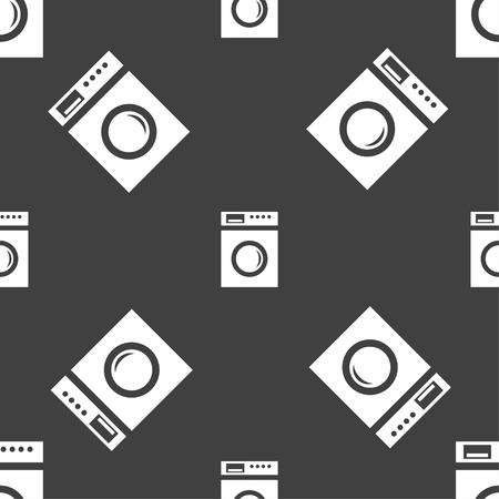 washhouse: washing machine icon sign. Seamless pattern on a gray background. illustration