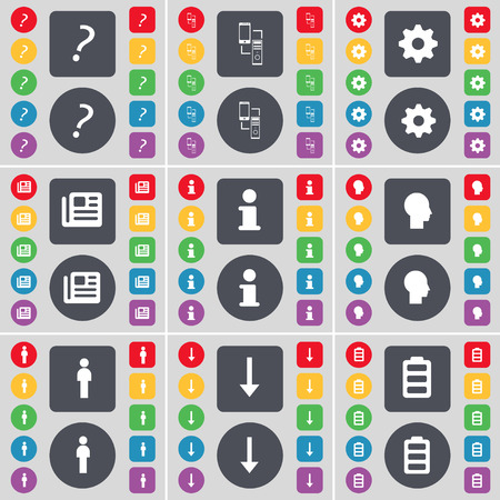 arrow down: Question mark, Connection, Gear, Newspaper, Information, Silhouette, Arrow down, Battery icon symbol. A large set of flat, colored buttons for your design. illustration Stock Photo
