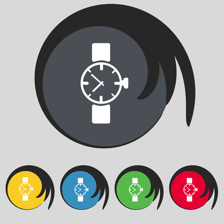 swiss insignia: Wrist Watch sign icon. Mechanical clock symbol. Set colourful buttons. illustration Stock Photo